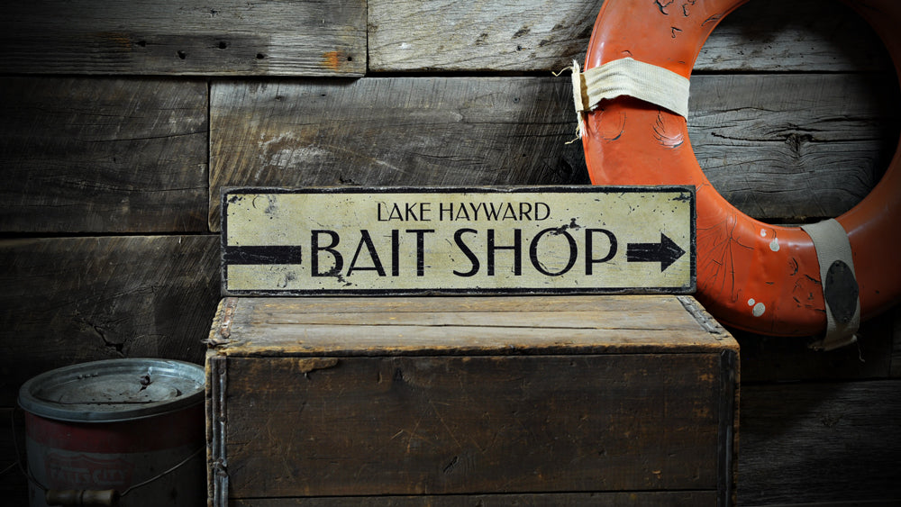 Bait Shop Directional Rustic Wood Sign