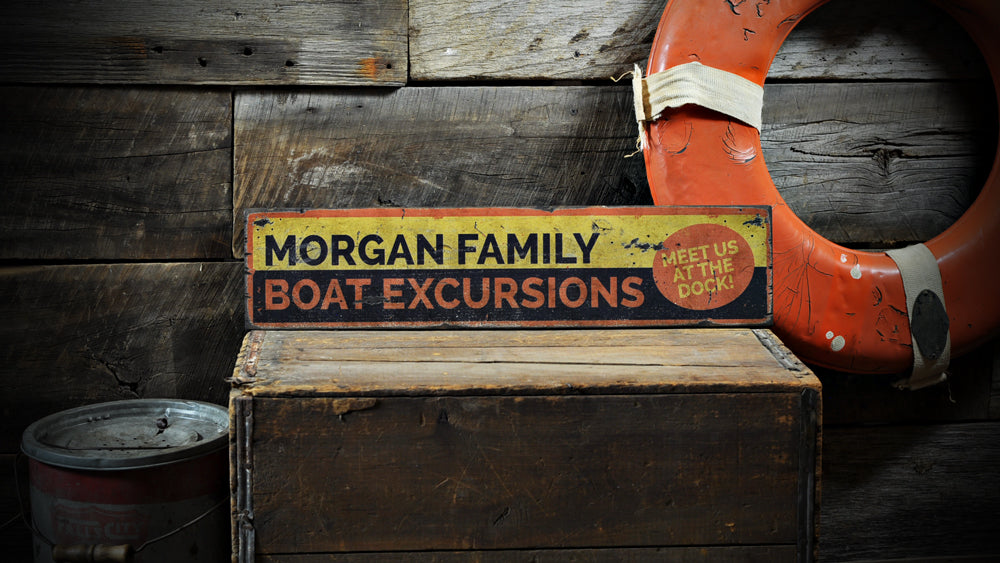 Boat Excursions Rustic Wood Sign