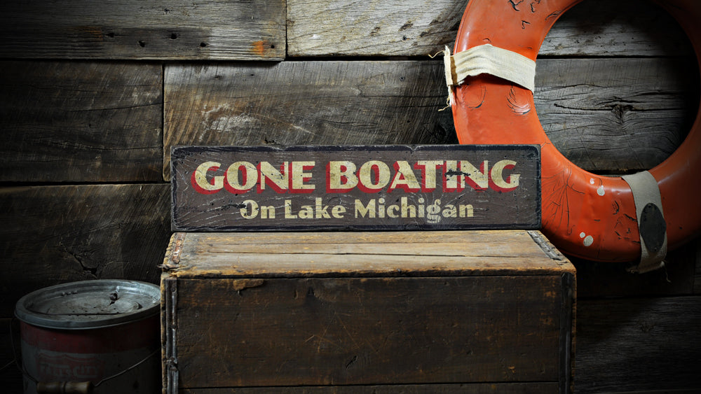 Gone Boating Rustic Wood Sign