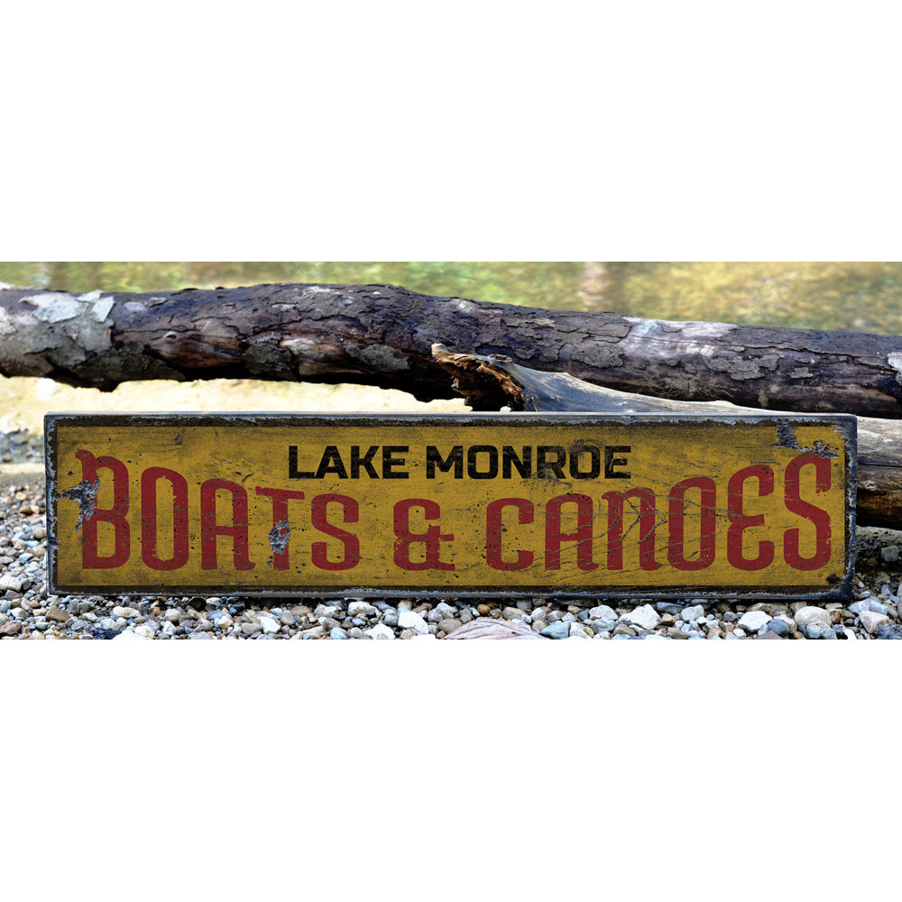 Boats & Canoes Vintage Wood Sign
