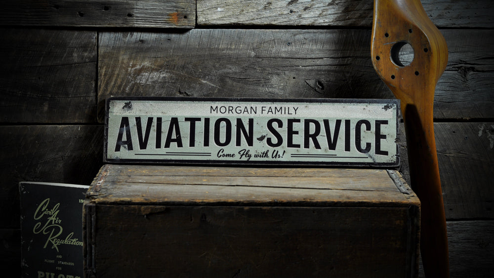 Aviation Service Rustic Wood Sign
