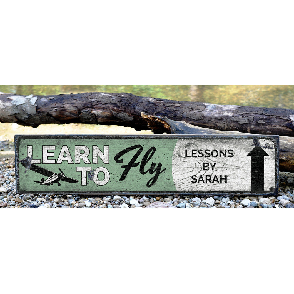 Learn To Fly Arrow Vintage Wood Sign