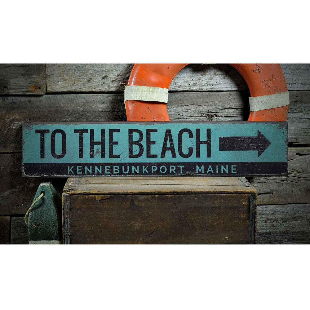To the Beach Vintage Wood Sign