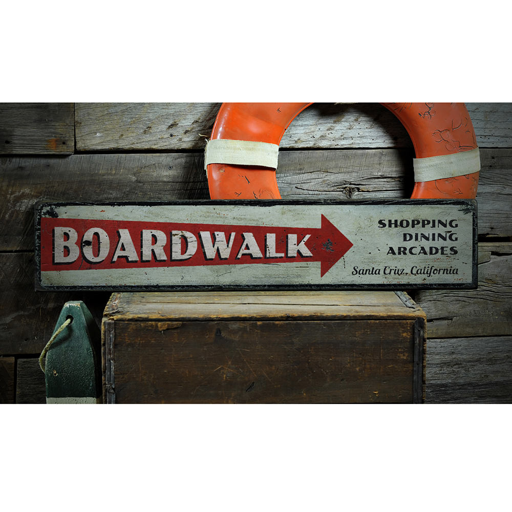 Boardwalk Directional Vintage Wood Sign