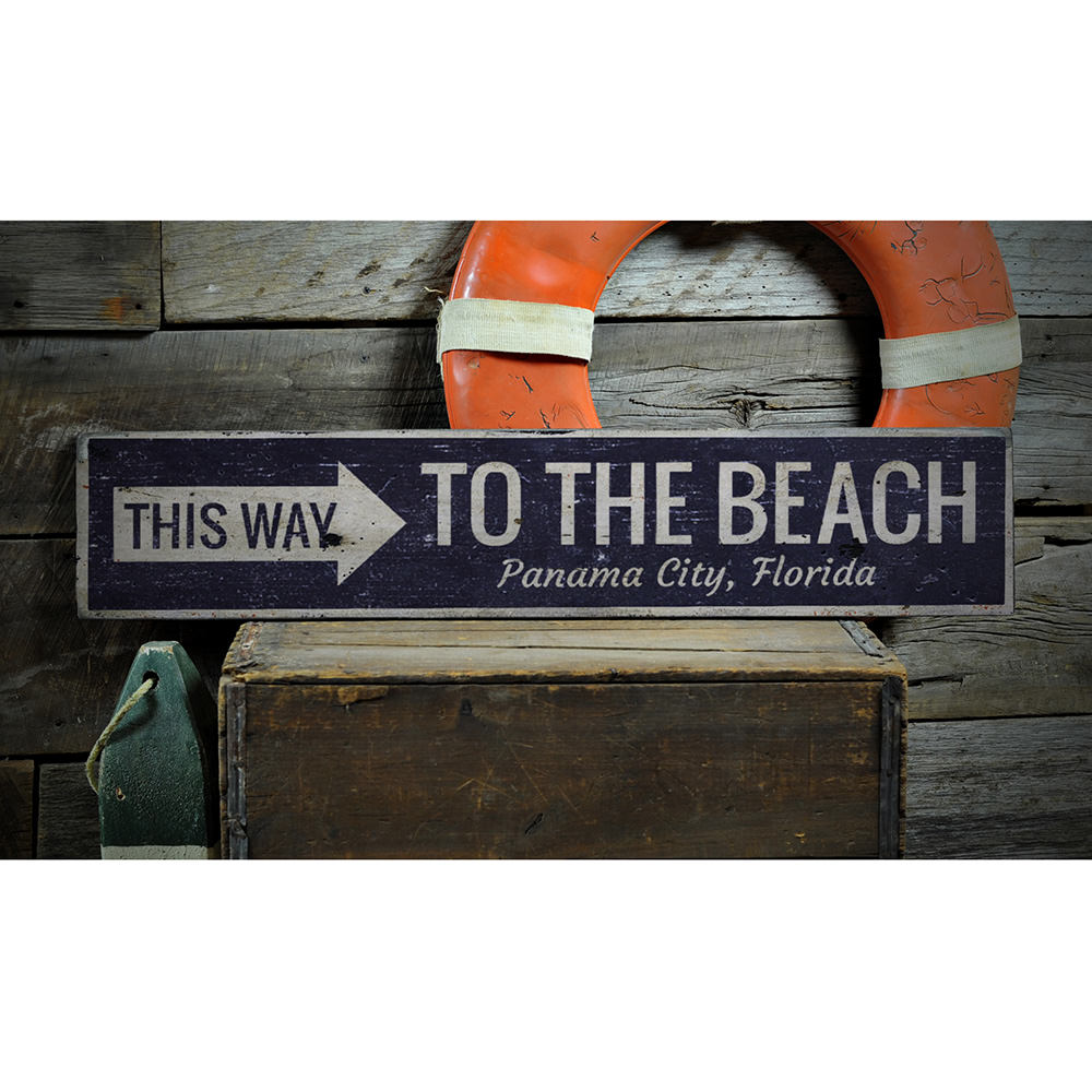Beach Directional Vintage Wood Sign
