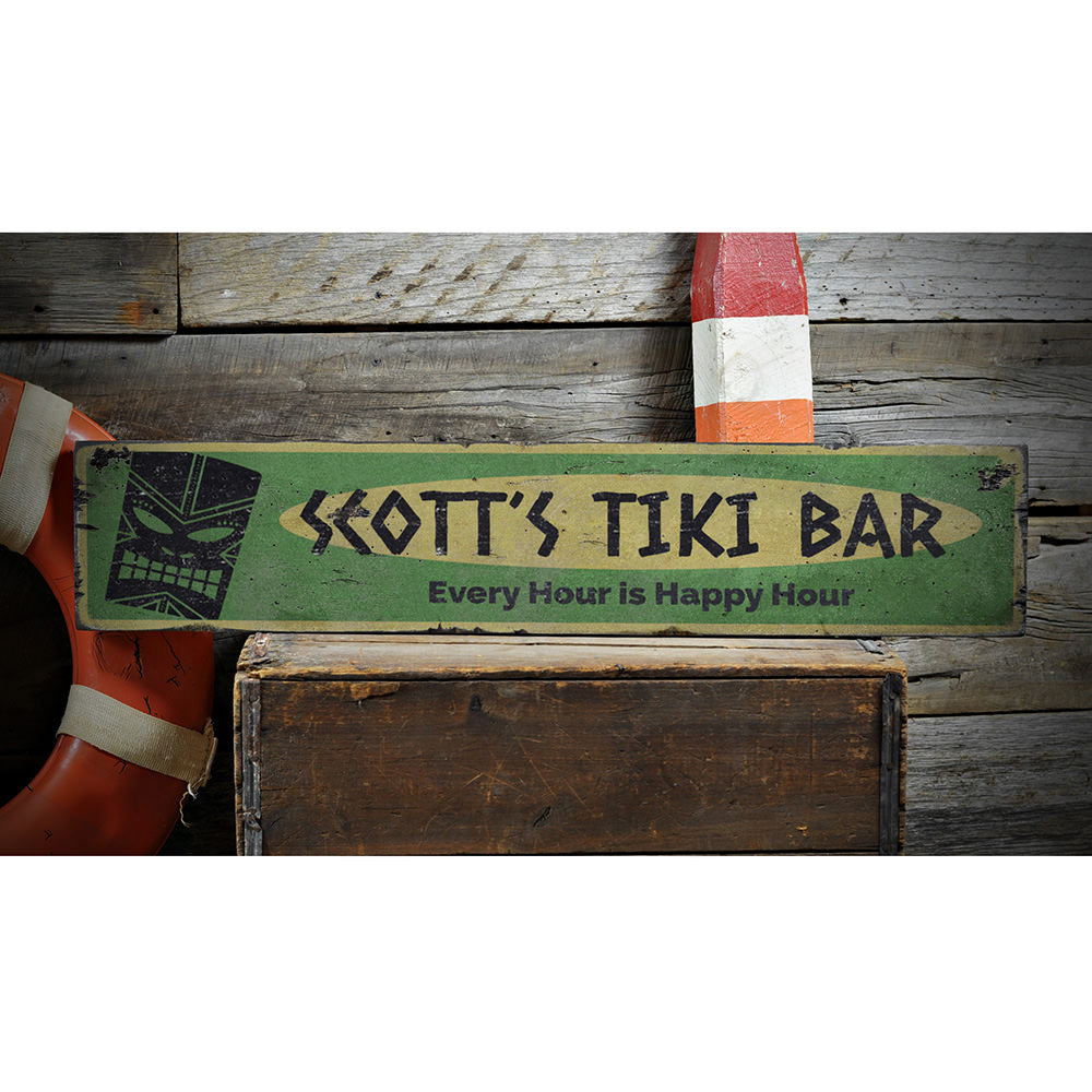 Every Hour is Happy Hour Tiki Vintage Wood Sign