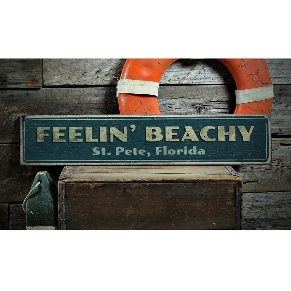 Feelin' Beachy Vintage Wood Sign