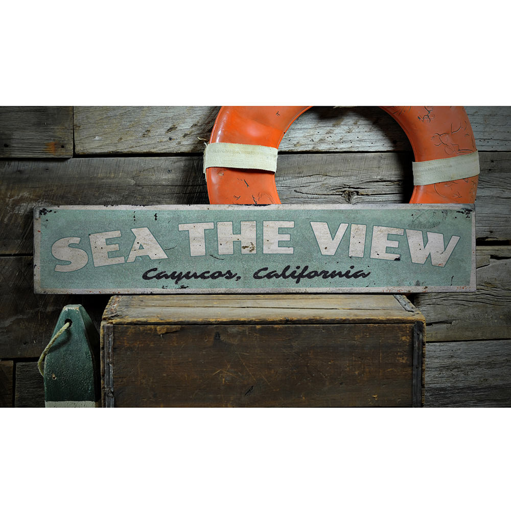 Sea The View Vintage Wood Sign