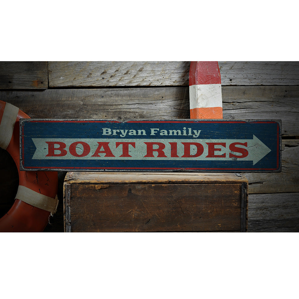Boat Rides Arrow Vintage Wood Sign