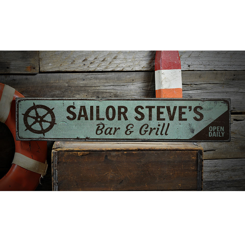 Ship Wheel Vintage Wood Sign