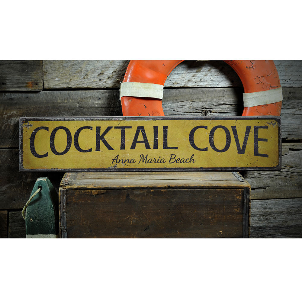 Cocktail Cove Vintage Wood Sign