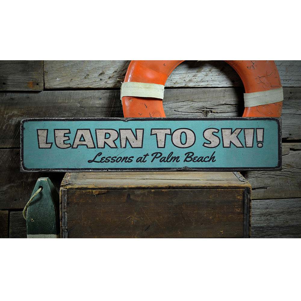 Learn To Ski Vintage Wood Sign