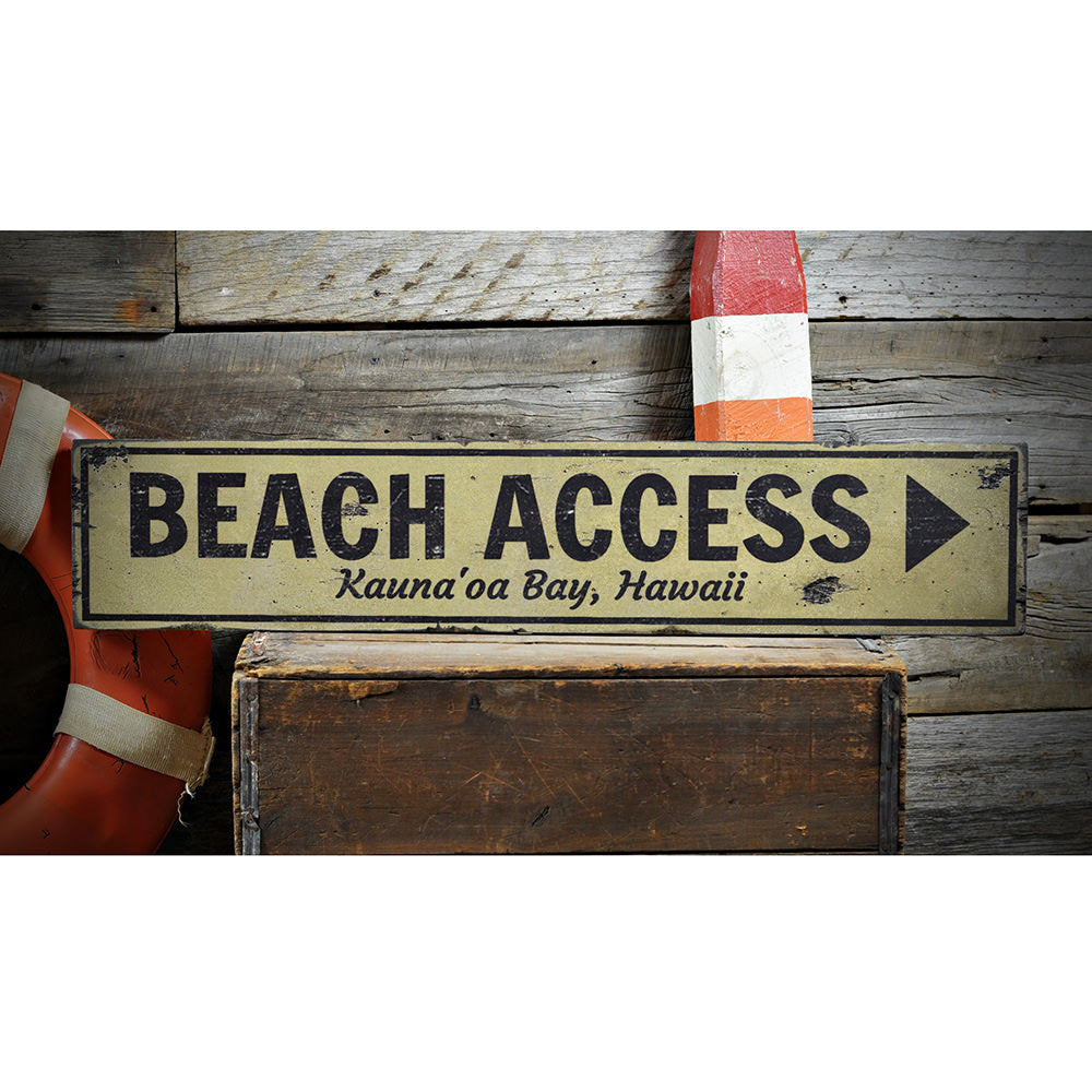 Beach Access Arrow Vintage Wood Sign