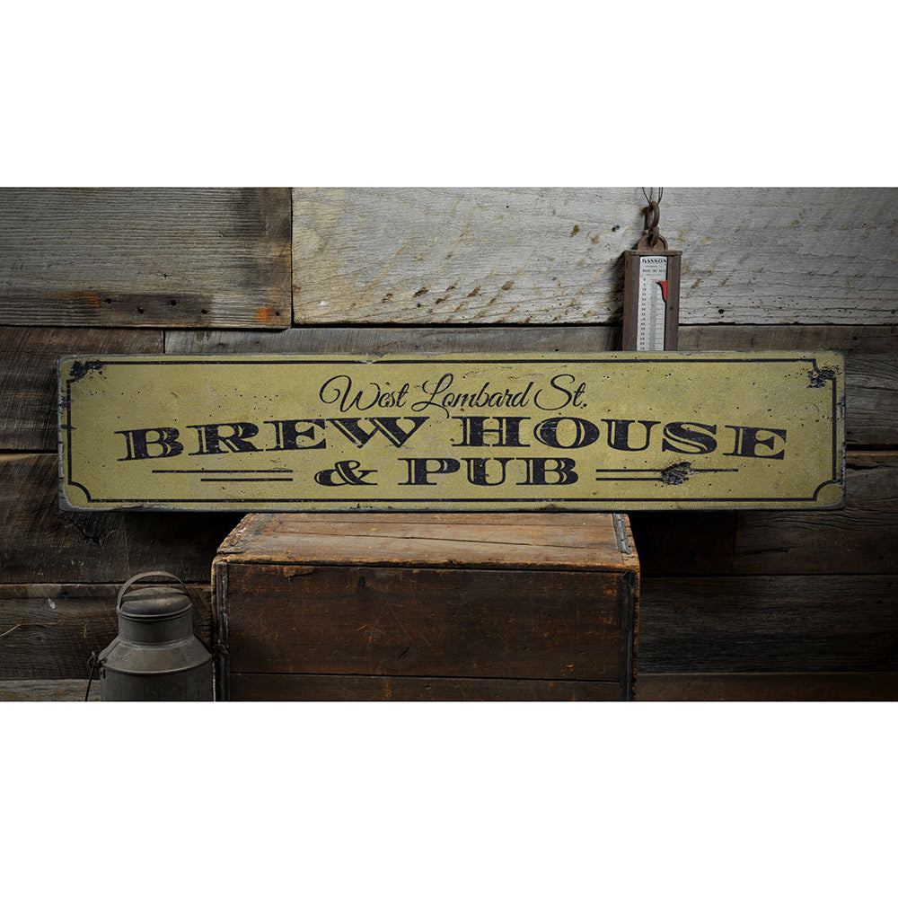 Pub & Brewhouse Address Vintage Wood Sign