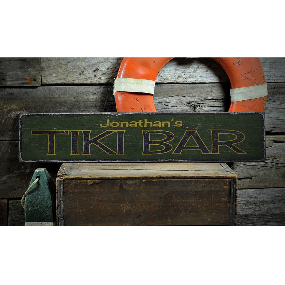 Tiki Vintage Wood Sign