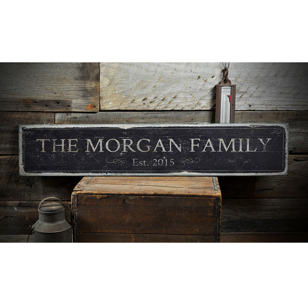 Family Name Vintage Wood Sign