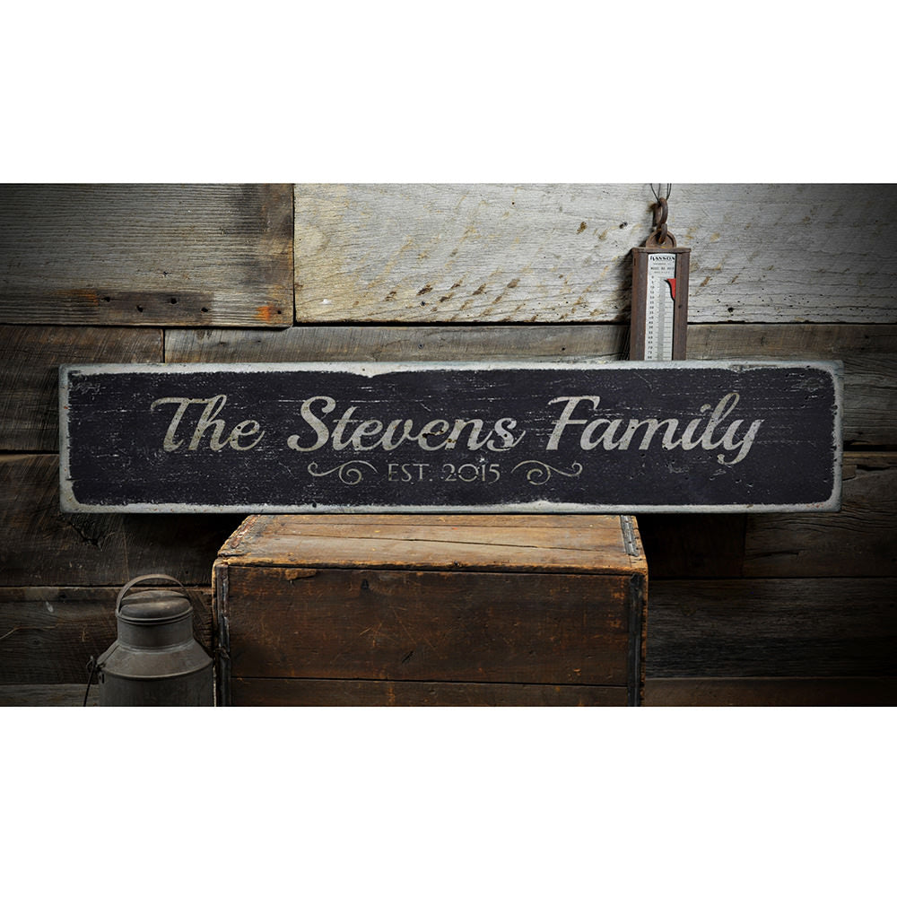 Family Est. Date Vintage Wood Sign