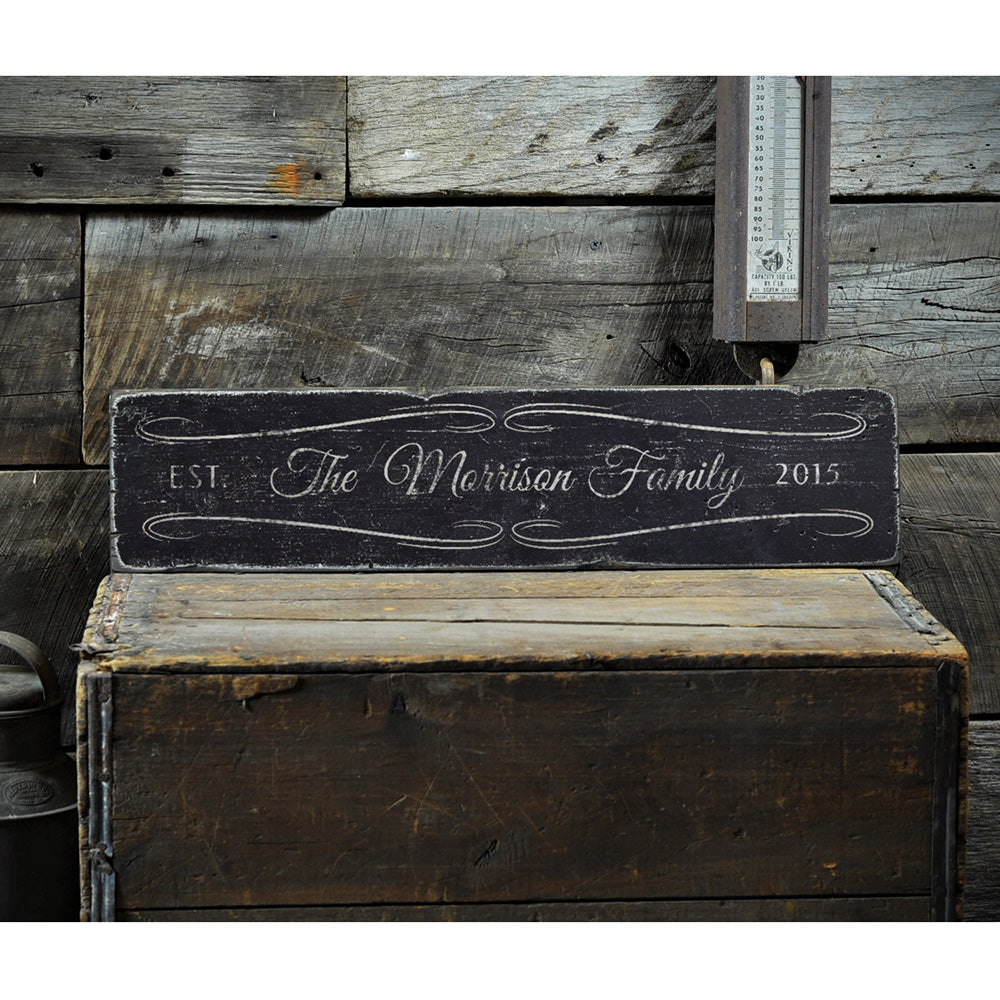 Last Name Wedding Vintage Wood Sign