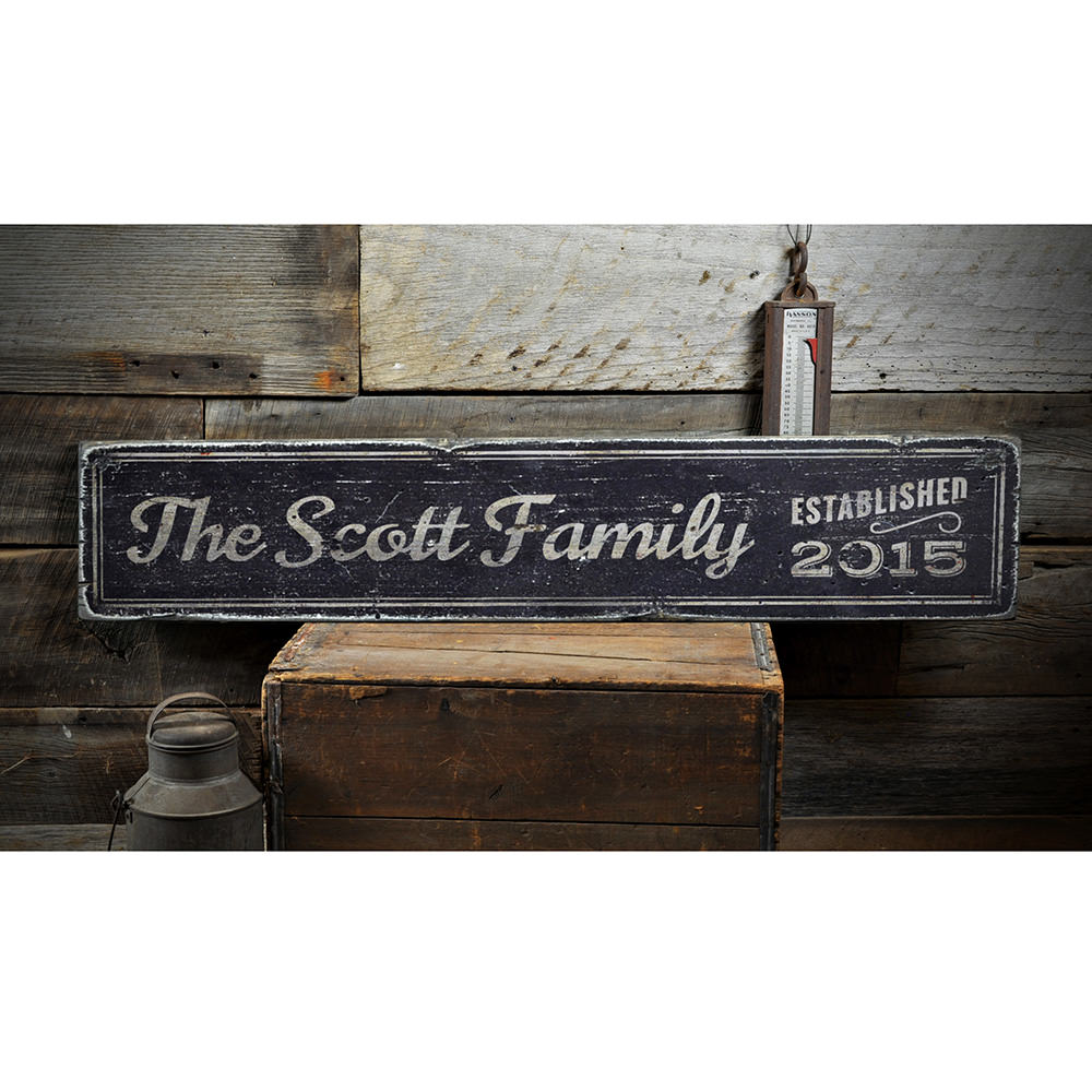 Last Name Family Vintage Wood Sign