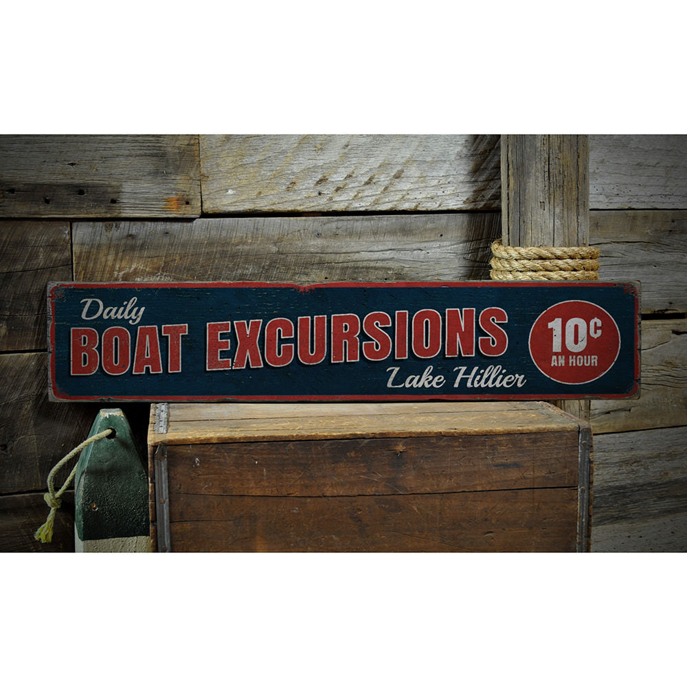 Daily Boat Excursions Vintage Wood Sign