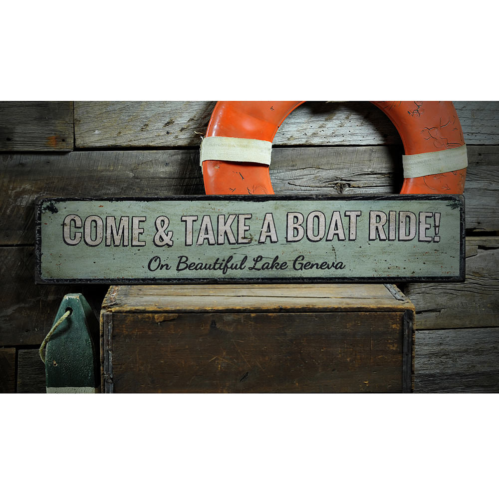 Take a Boat Ride Vintage Wood Sign