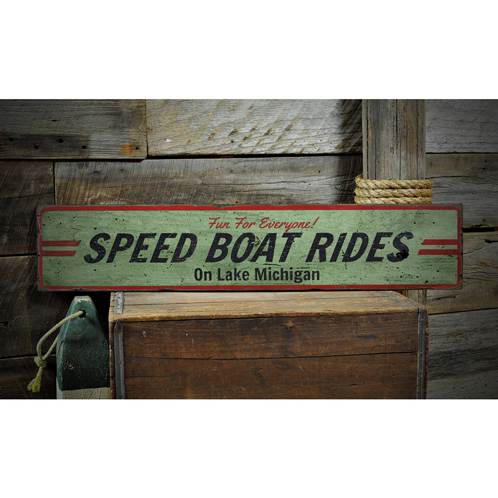 Speed Boat Ride Vintage Wood Sign