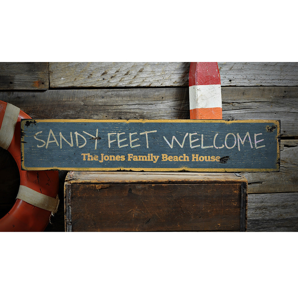 Sandy Feet Welcome Vintage Wood Sign