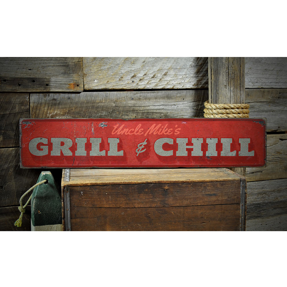 Grill & Chill Vintage Wood Sign