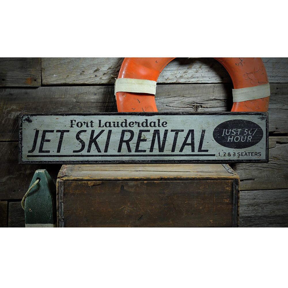 Jet Ski Rental Location Vintage Wood Sign
