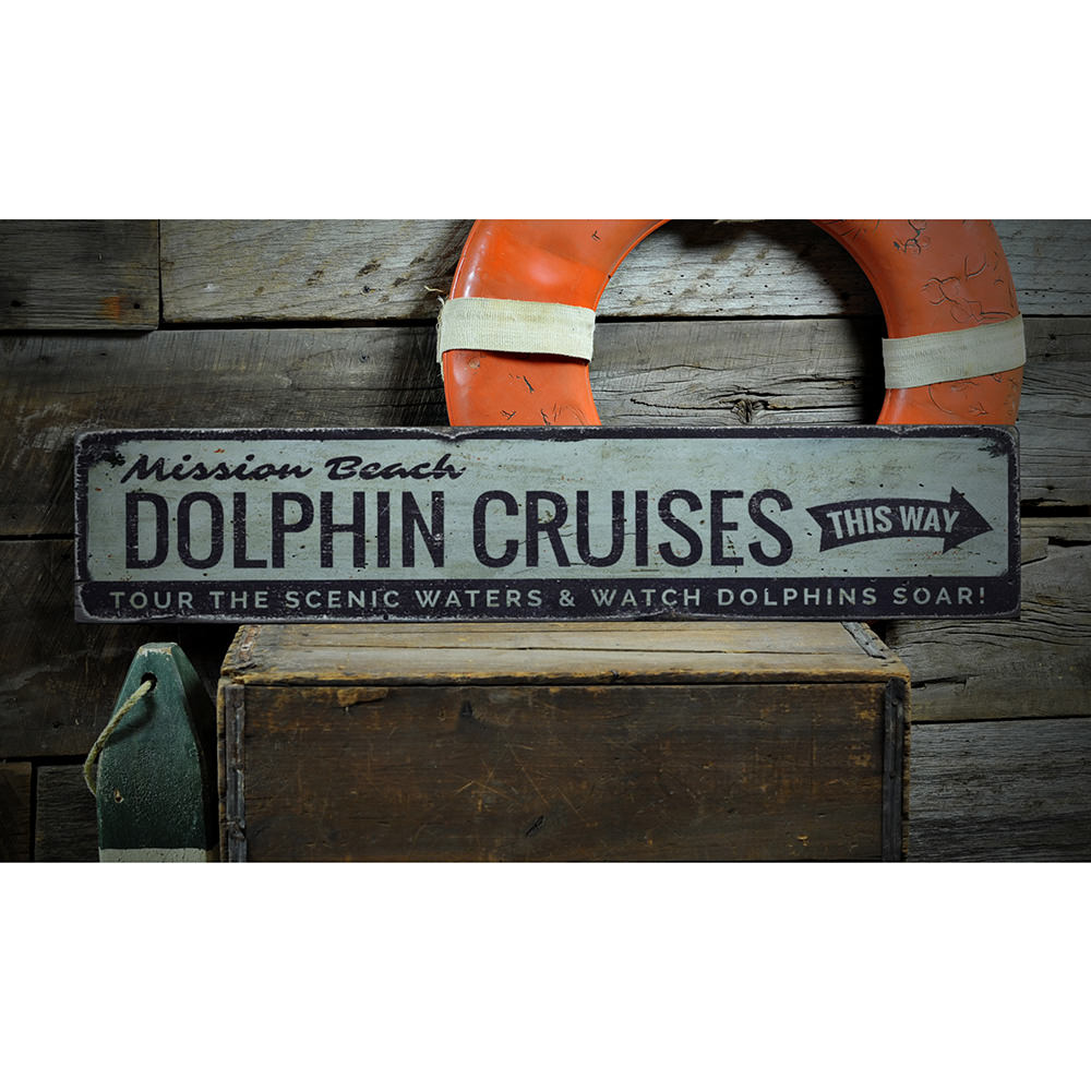 Dolphin Cruises Vintage Wood Sign