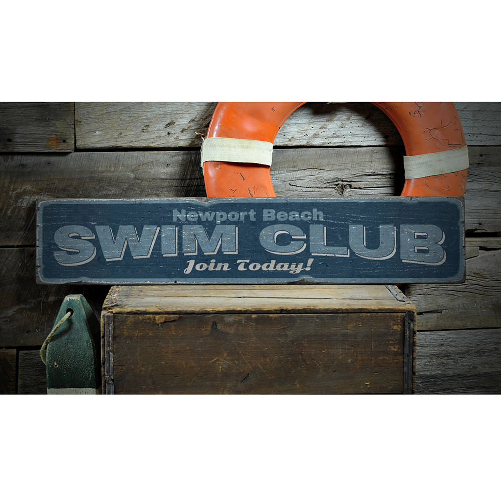 Swim Club Vintage Wood Sign