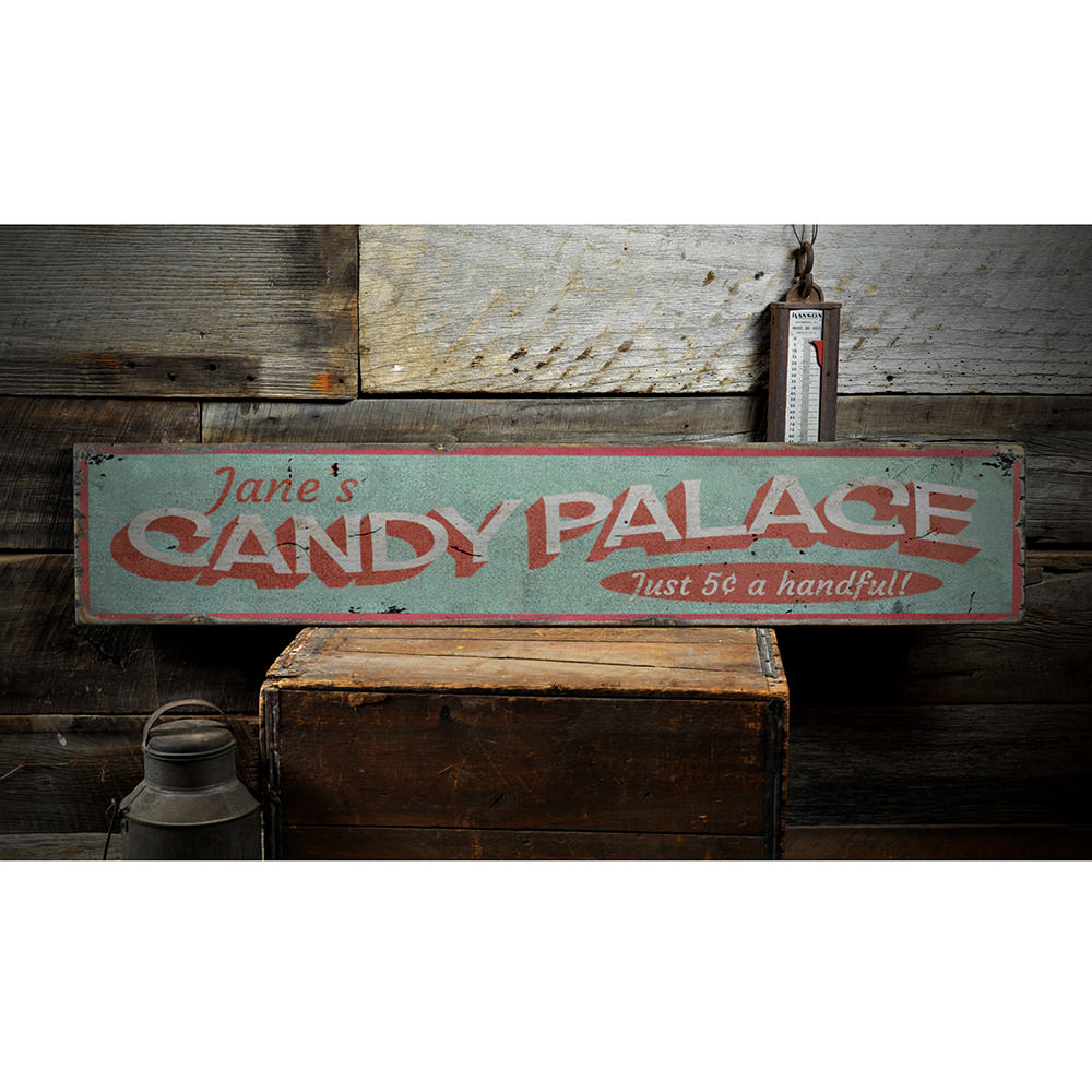 Candy Palace Vintage Wood Sign