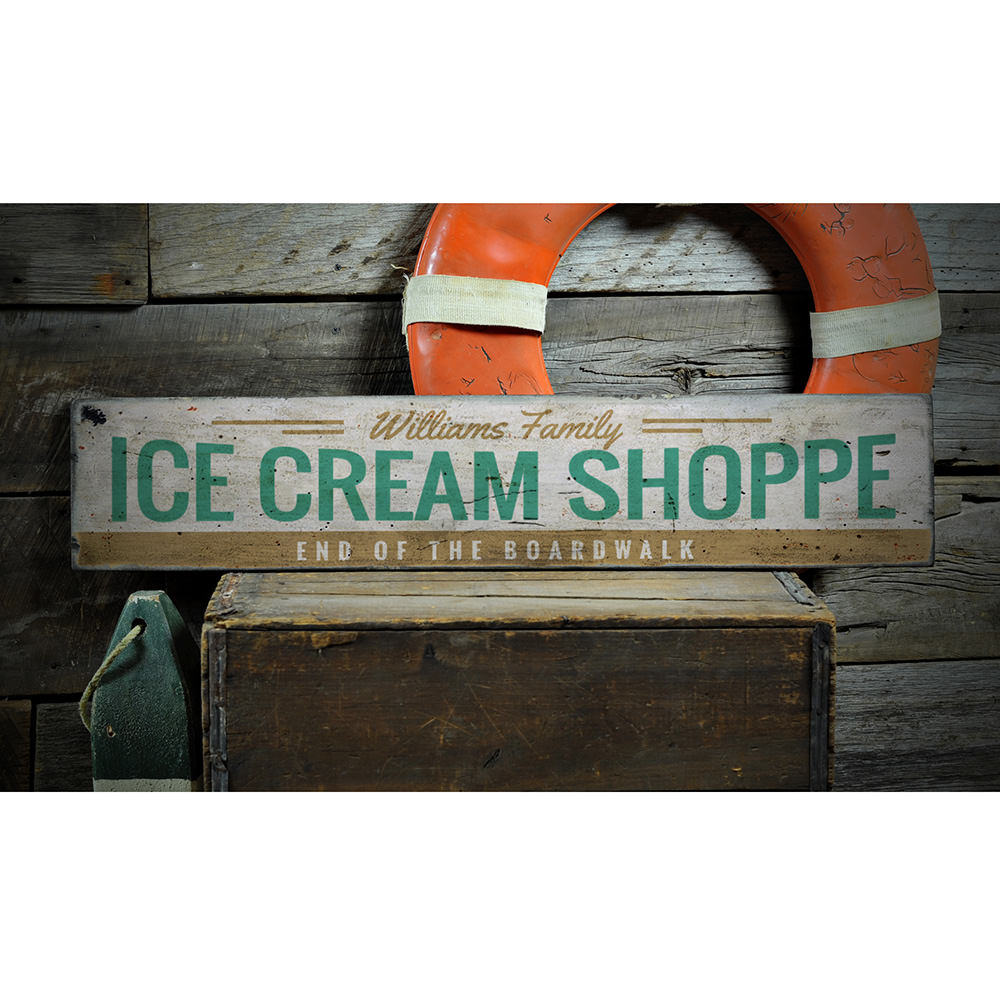 Ice Cream Shoppe Vintage Wood Sign