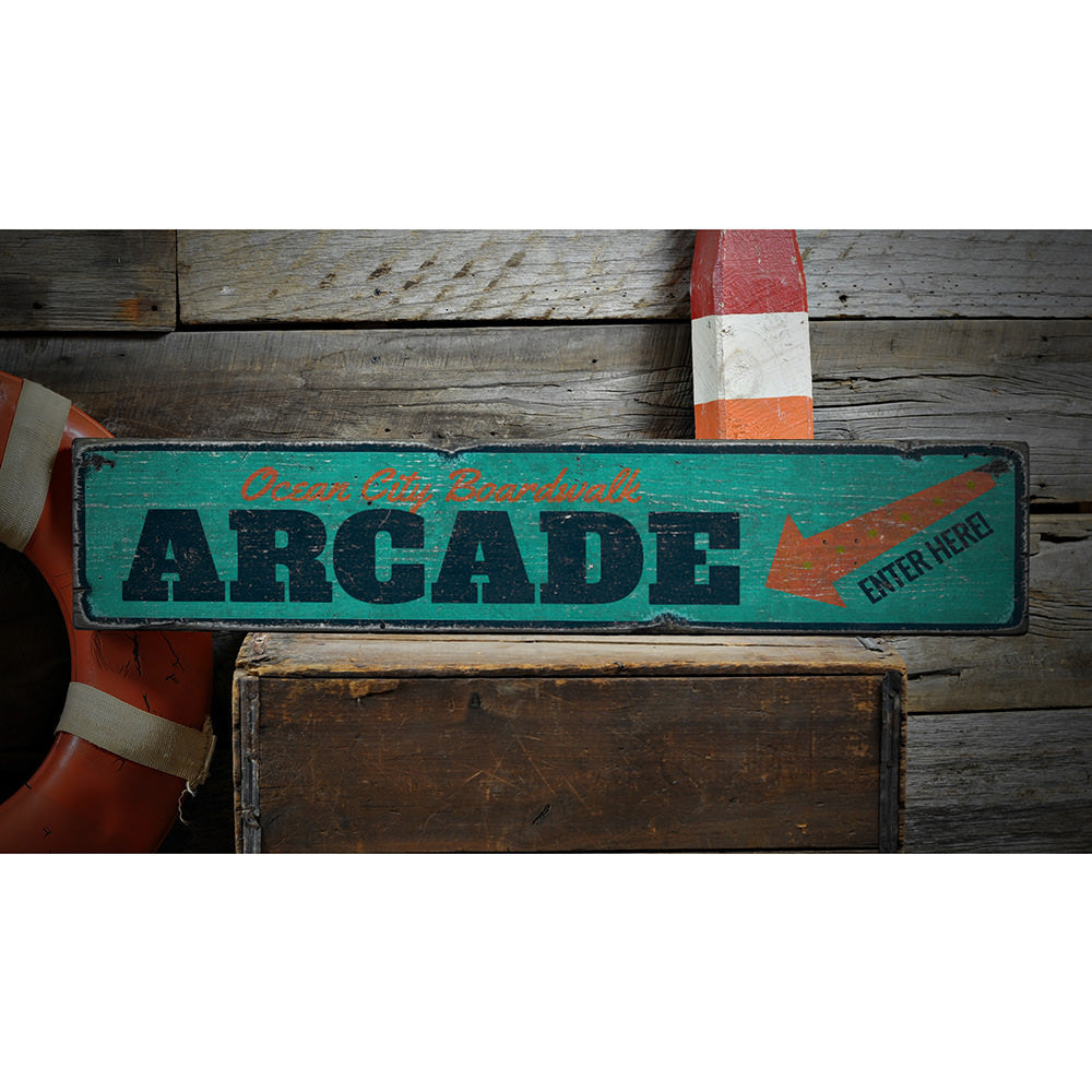 Boardwalk Arcade Vintage Wood Sign