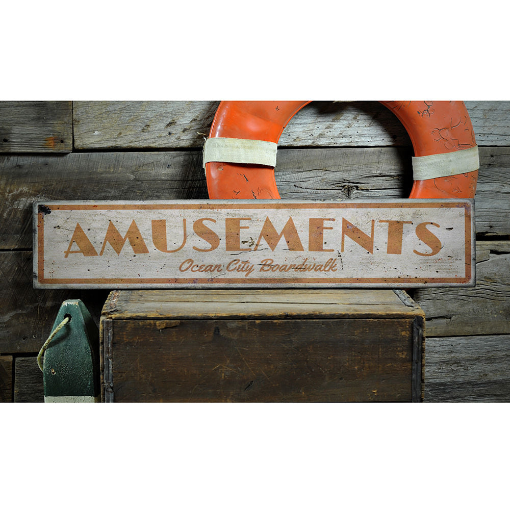 Amusements Vintage Wood Sign