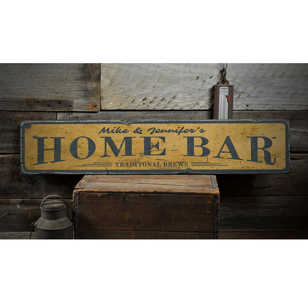 Tradtional Brew Home Bar Vintage Wood Sign