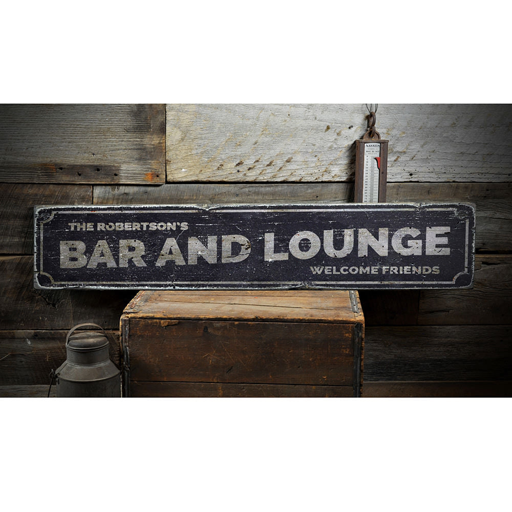 Bar and Lounge Vintage Wood Sign