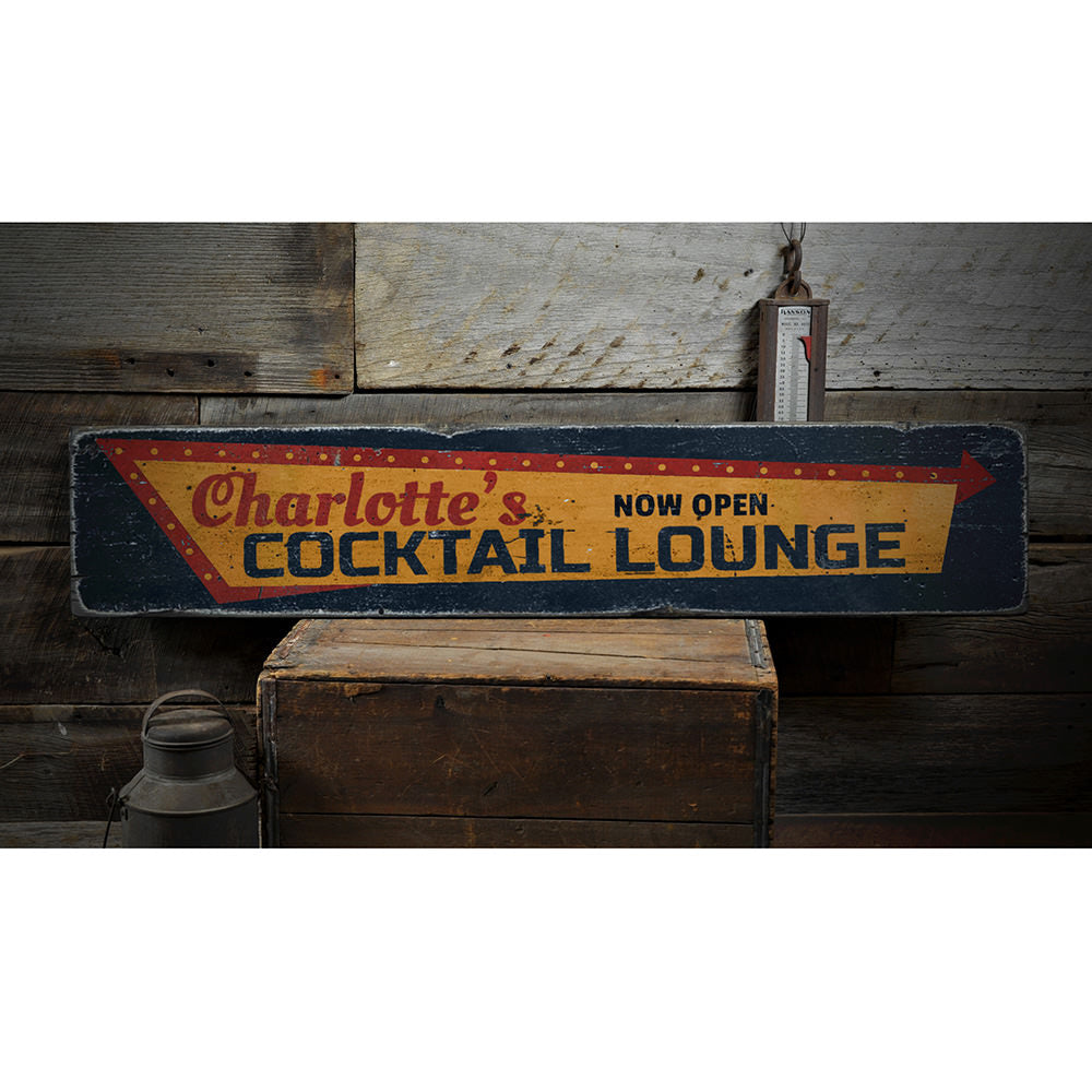 Cocktail Lounge Open Vintage Wood Sign