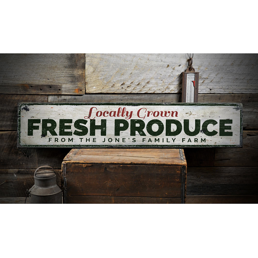 Locally Grown Fresh Produce Vintage Wood Sign