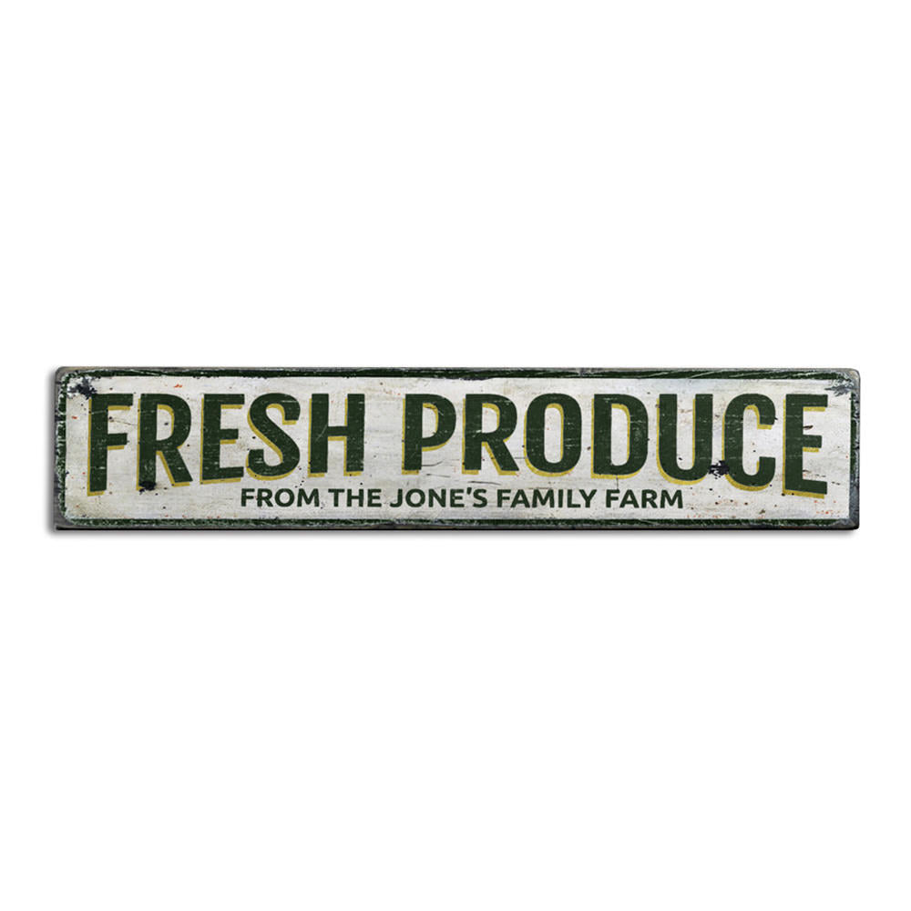 Fresh Produce Vintage Wood Sign