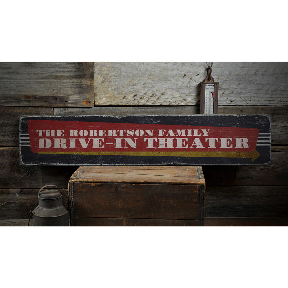 Drive-In Theater Vintage Wood Sign