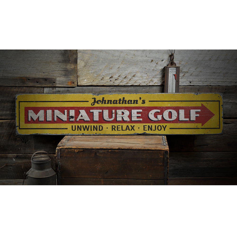 Mini Golf Vintage Wood Sign