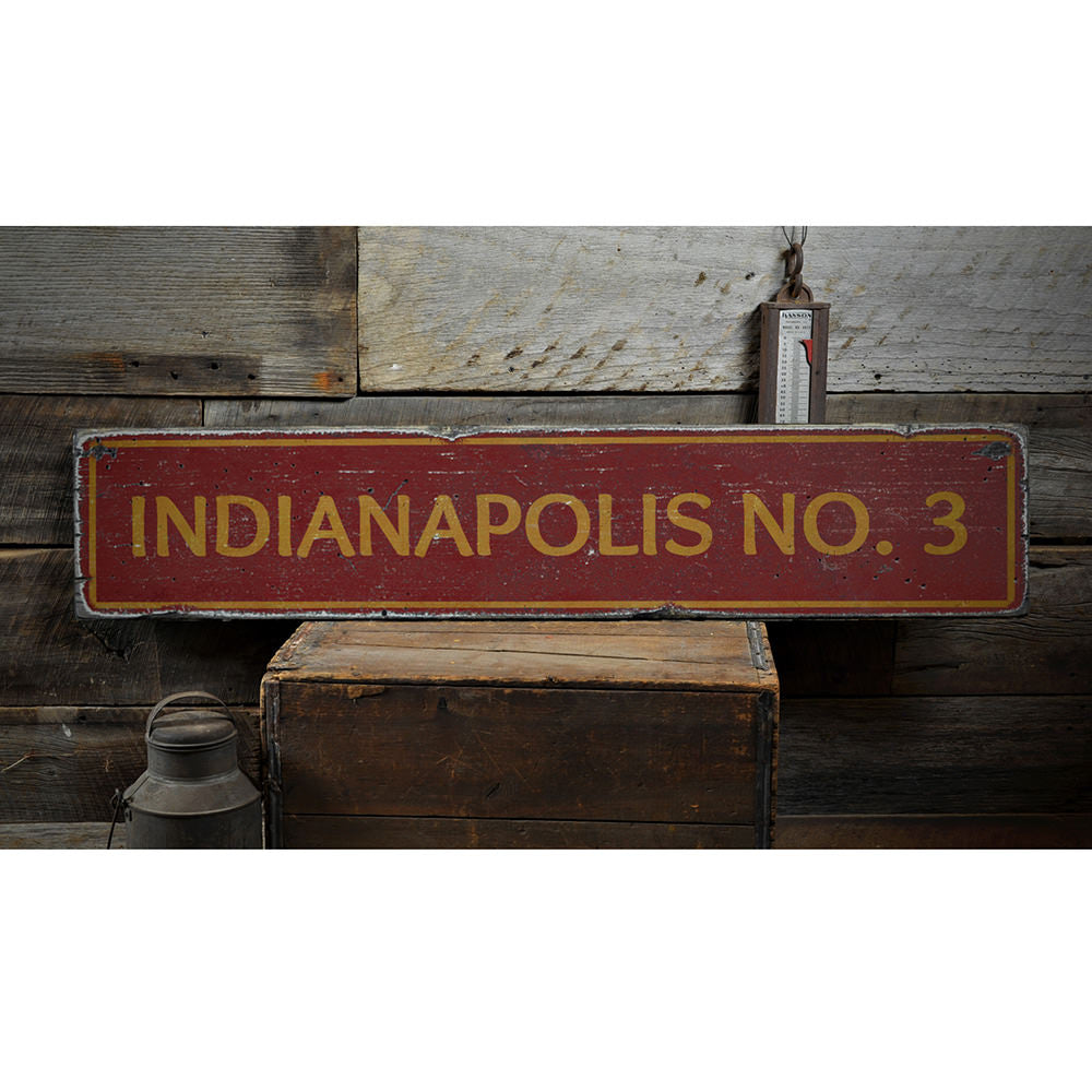 Firefighter City Number Vintage Wood Sign