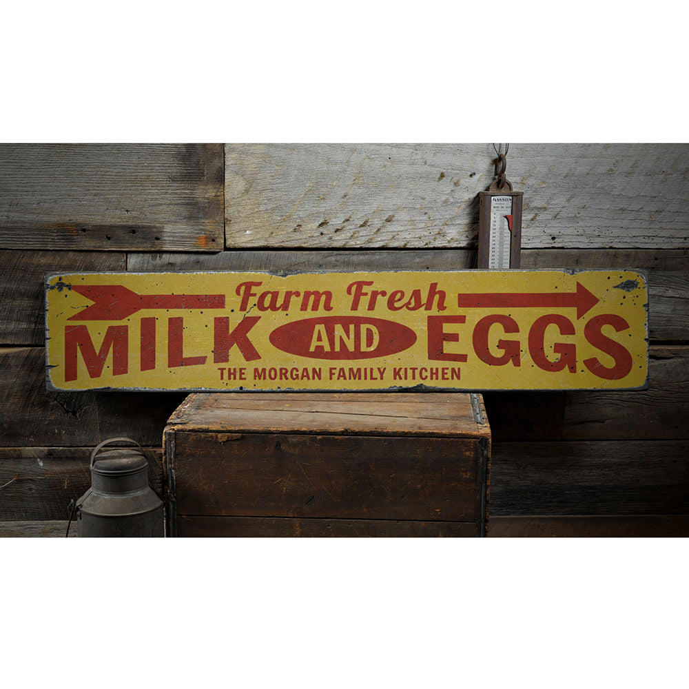 Farm Fresh Milk & Eggs Vintage Wood Sign