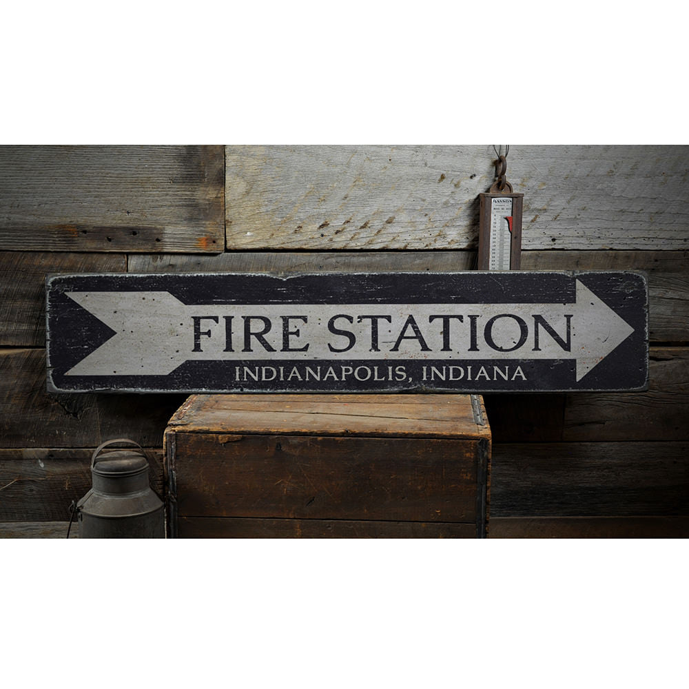 Fire Station Arrow Vintage Wood Sign