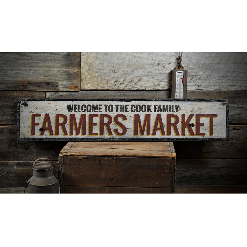 Farmers Market Vintage Wood Sign