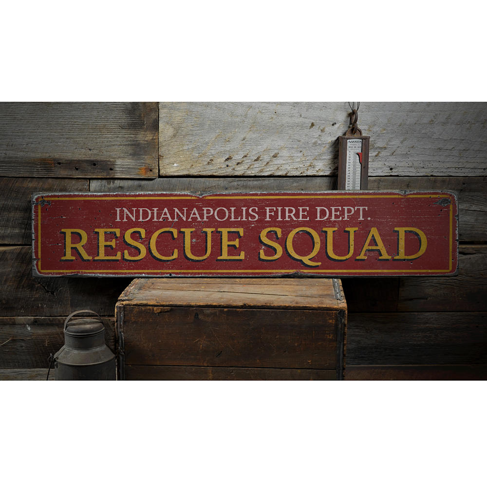 Rescue Squad Vintage Wood Sign