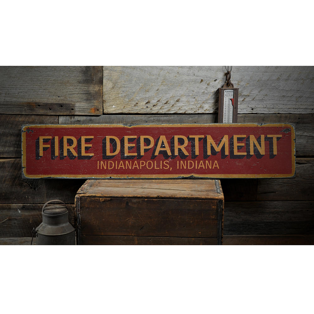 Fire Department City State Vintage Wood Sign