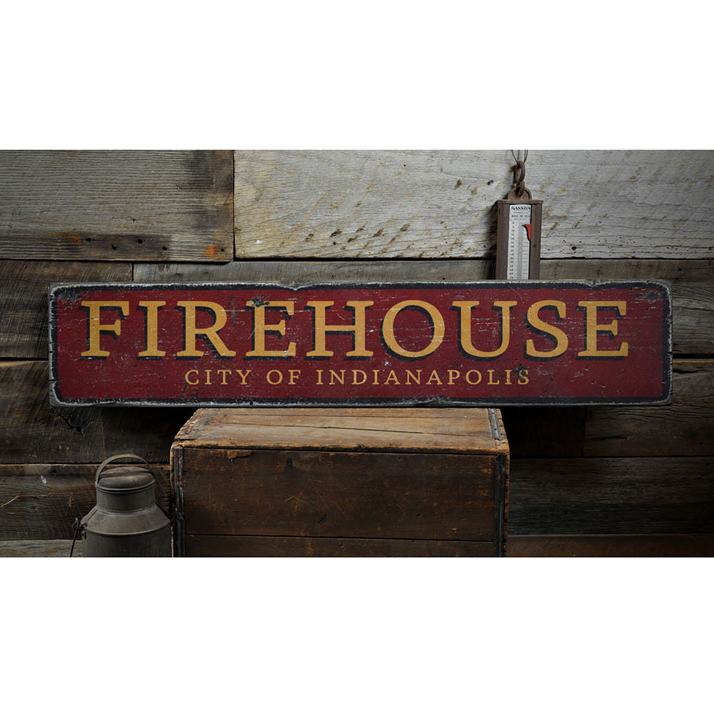 Firehouse City Vintage Wood Sign