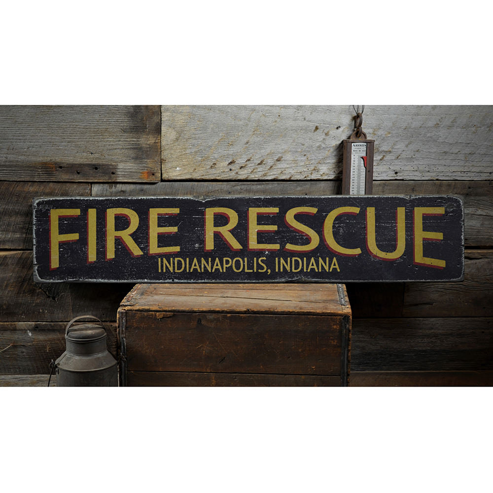 Fire Rescue City State Vintage Wood Sign